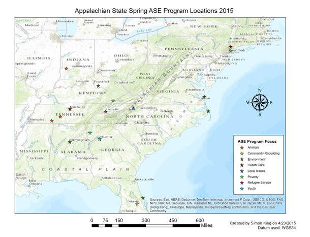ASE Program Locations 2015